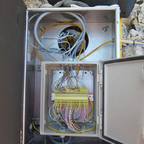 Thermistorenkette am Bohrlochkopf mit Blitzschutz