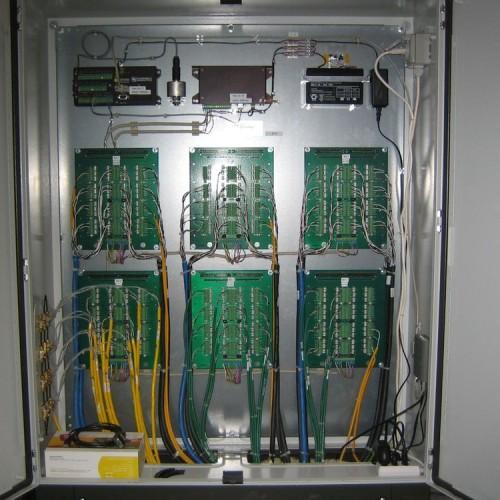 Datenlogger mit 192 Kanälen in Schaltschrank.